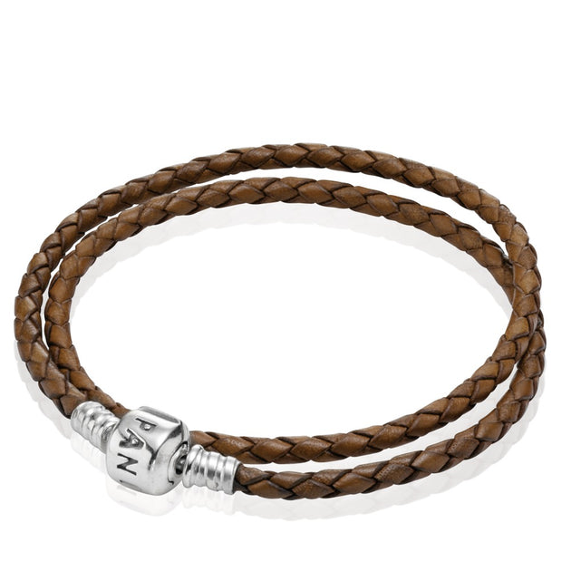 Brown Braided Double Leather