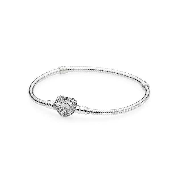 Silver Bracelet w/Heart Shaped-Clasp Pave Heart with Clear Cubic Zirconia