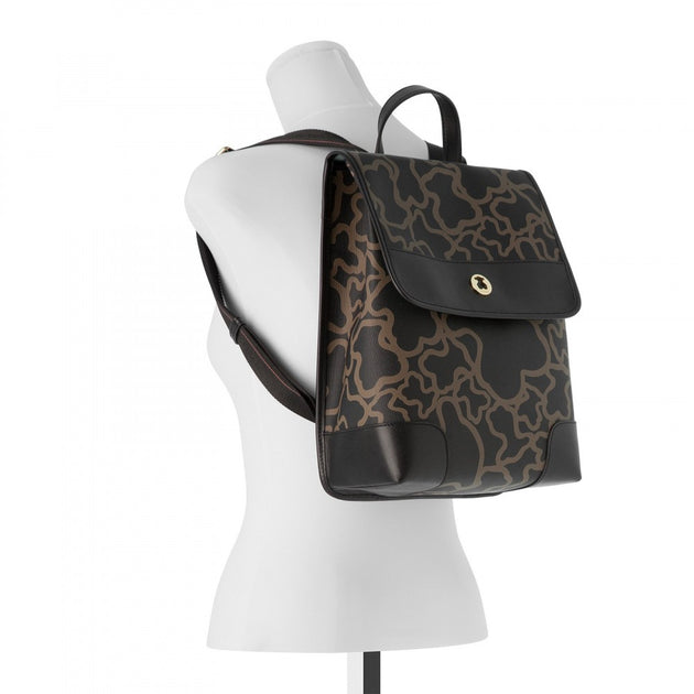 Black-camel colored Canvas Kaos Backpack, TOUS, Handbags
