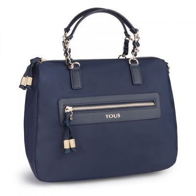 Navy colored Canvas Brunock Chain Bowling bag, Tous, Handbags