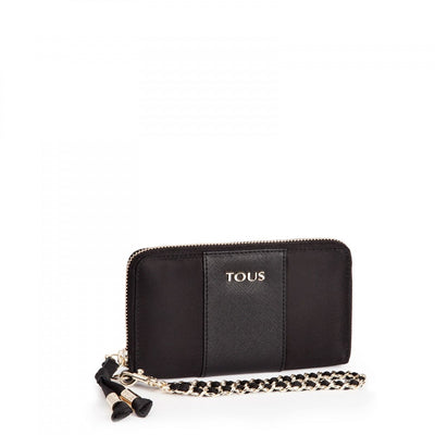 Black colored Canvas Brunock Chain Wallet, TOUS, Handbags