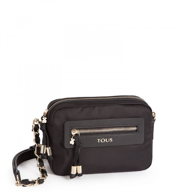 Black colored Canvas Brunock Chain Crossbody bag, TOUS, Handbags