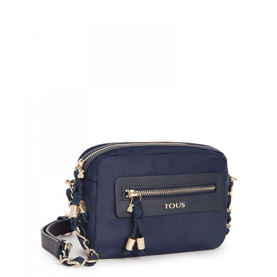 Navy colored Canvas Brunock Chain Crossbody bag, Tous, Handbags