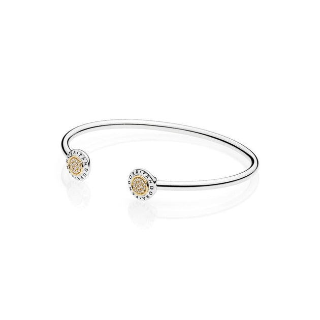PANDORA logo open bangle in sterling silver with 14k gold and clear cubic zirconia