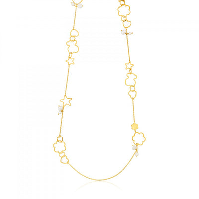 Vermeil Silver New Silueta Necklace with Pearl, Tous