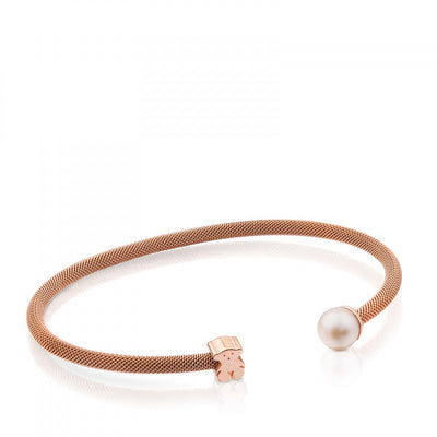 Steel and Rose Vermeil Silver Icon Mesh Bracelet with Pearl, Tous