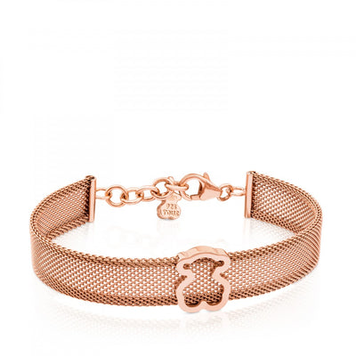 Steel and Rose Vermeil Silver Icon Mesh Bracelet, Tous