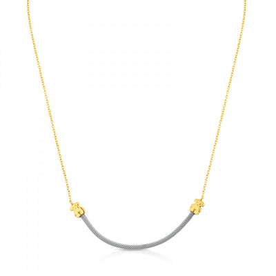 Steel and Gold Icon Mesh Necklace, Tous