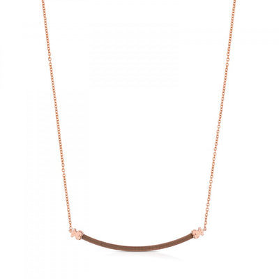 Steel and Rose Vermeil Silver Icon Mesh Necklace, Tous