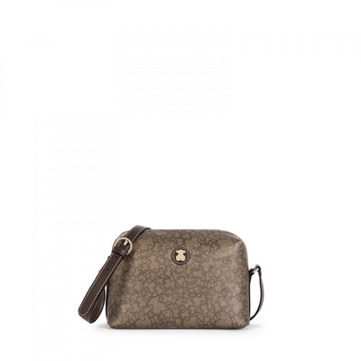 Medium brown colored Canvas Kaos Mini Crossbody bag, Tous, Handbags