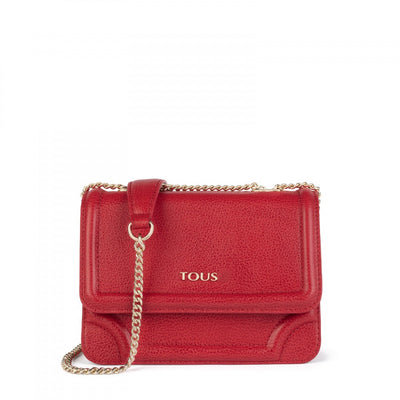Small red Leather Obraian Crossbody bag, Tous