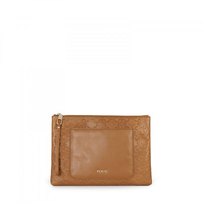 Natural colored Leather Mossaic Clutch bag, Tous, Handbags