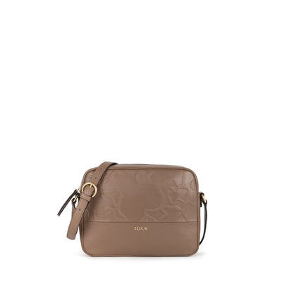 Stone colored Leather Lake Crossbody bag, Tous