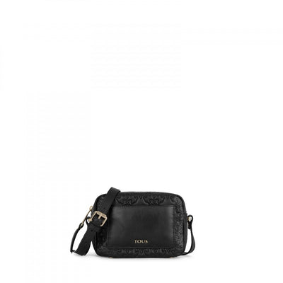 Medium black colored Leather Mossaic Crossbody bag