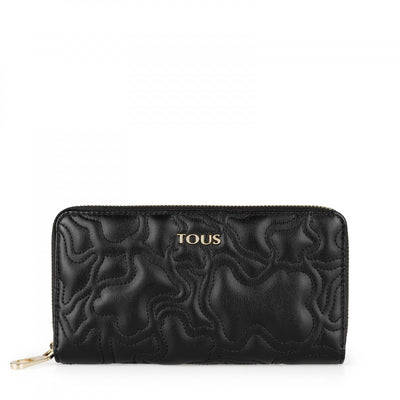 Medium black colored Kaos Capitone Wallet, Tous, Handbags