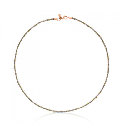 Rose Vermeil Silver TOUS Choker and grey Cord