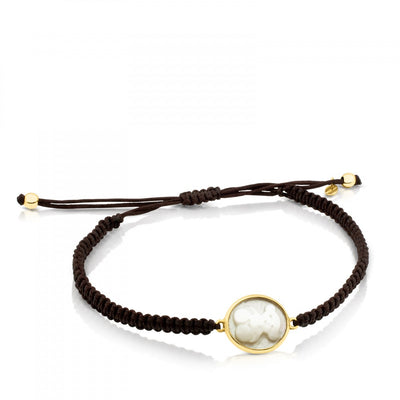 Gold and Cord with Mother-of-Pearl Camee Bracelet, Tous