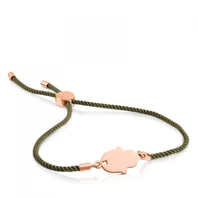 Pink Vermeil Silver Idol Protection Bracelet with green cord, Tous