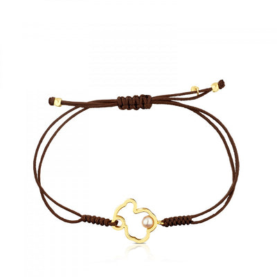 Gold and brown Cord with Pearl Silueta Bracelet, Tous