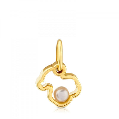 Small Gold with Pearl Silueta Pendant, Tous