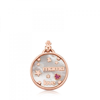 Rose Vermeil TOUS Mama Pendant with Mother-of-Pearl and Ruby
