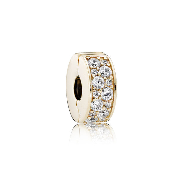 Clip Shining Elegance in 14K Gold with Clear Cubic Zirconia and Silicone Grip