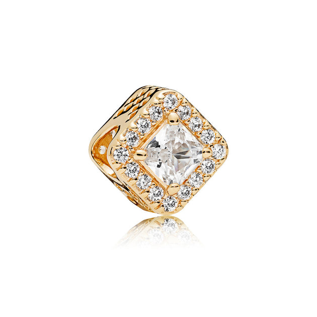 Charm in 14k gold with clear cubic zirconia