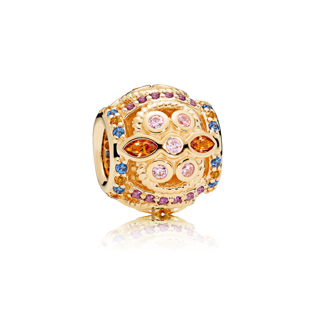 Abstract charm in 14k gold with honey-colored, Royal Purple, and Blue crystals with pink cubic zirconia