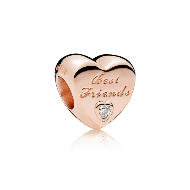 "Heart charm in PANDORA Rose  with clear cubic zirconia and engraving ""Best Friends?"