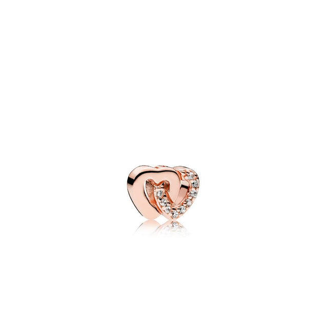 Interlocked hearts petite element in PANDORA Rose with clear cubic zirconia