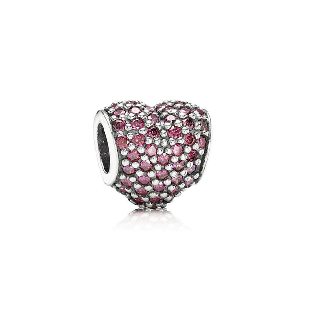 Pave Heart, Red CZ