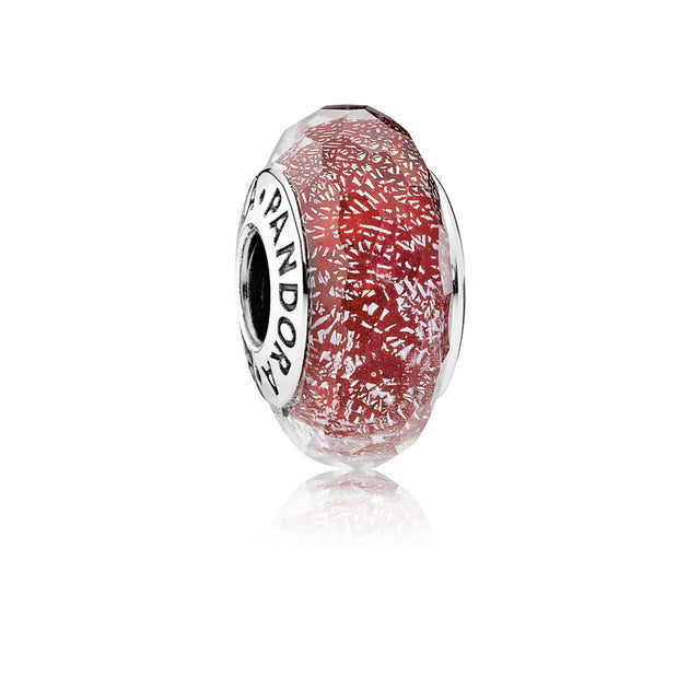 Charm Red Shimmering Glass with Faceted Red Murano Glass