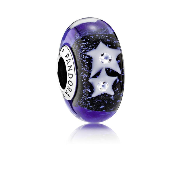 Charm Starry Night Sky with Iridescent White, Midnight Blue and Transparent Murano glass and Clear Cubic Zirconia