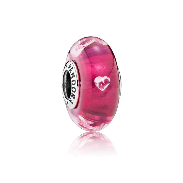 Charm Murano Cerise Heart Glass with Clear Cubic Zirconia