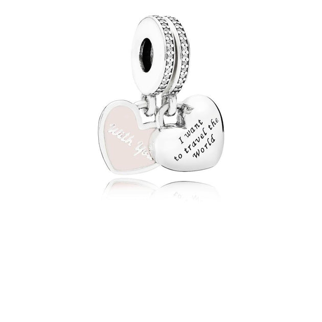 Travel Together Forever, Pink Enamel & Clear CZ