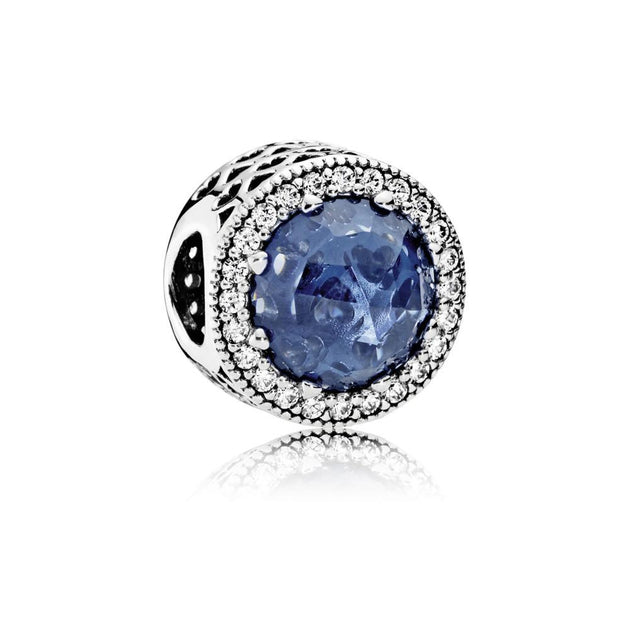 Charm Radiant Hearts with Moonlight Blue Crystal and Clear Cubic Zirconia