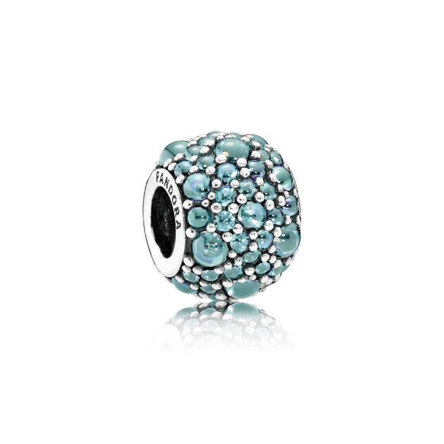 Charm Shimmering Droplet with Teal Cubic Zirconia