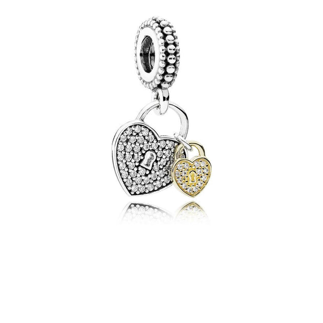 Dangle Love Locks with 14K Gold and Clear Cubic Zirconia