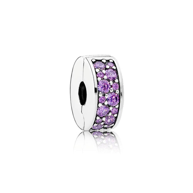 Clip Shining Elegance with Fancy Purple Cubic Zirconia and Silicone Grip