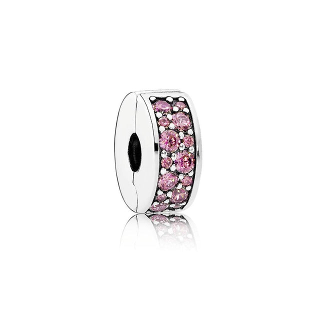 Clip Shining Elegance with Honeysuckle Pink Cubic Zirconia and Silicone Grip