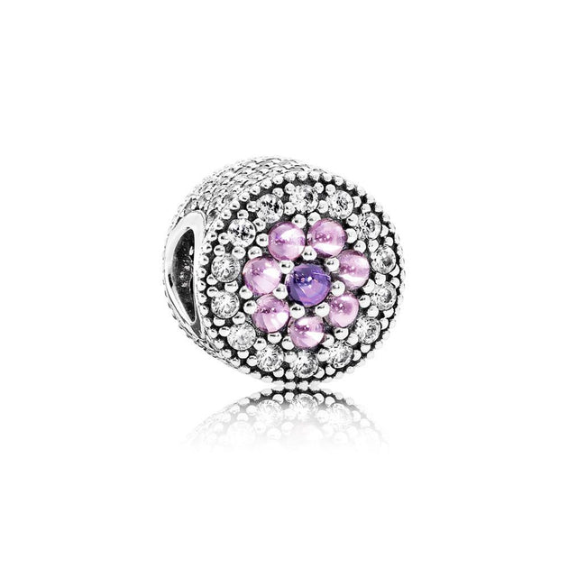 Charm Dazzling Floral with Fancy Purple, Pink, and Clear Cubic Zirconia