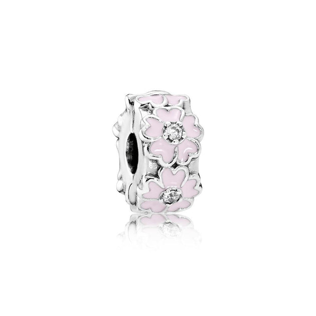Clip Pink Primrose with Light Pink Enamel & Clear Cubic Zirconia and Silicone Grip