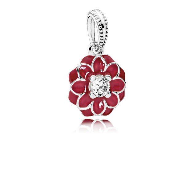 Dangle Oriental Bloom with Crimson Red Enamel and Clear Cubic Zirconia