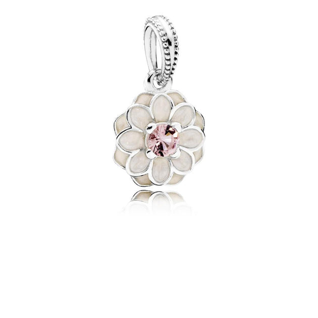 Dangle Blooming Dahlia with Cream Enamel and Blush Pink Crystal