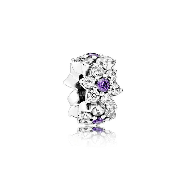 Spacer Forget-Me-Not with Purple and Clear Cubic Zirconia