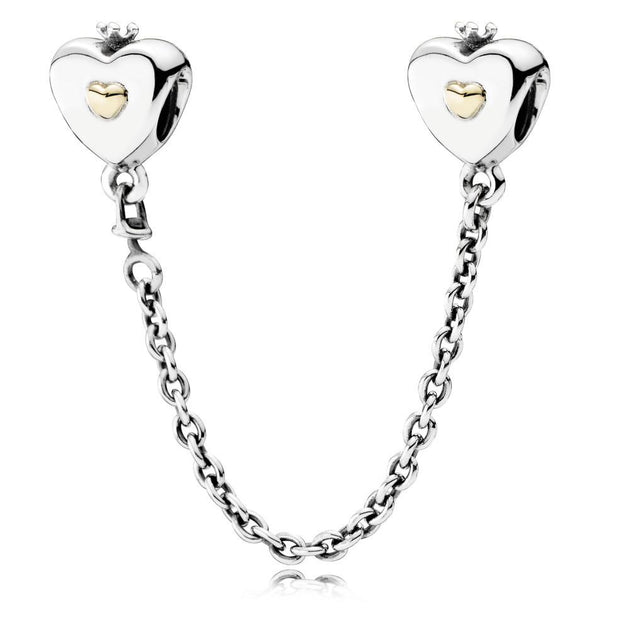 Safety Chain Heart & Crown with 14K Gold