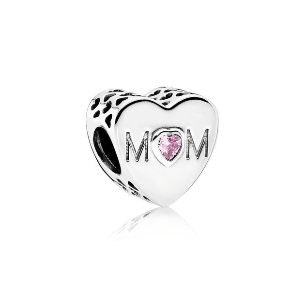 Charm Mother Heart with Pink Cubic Zirconia