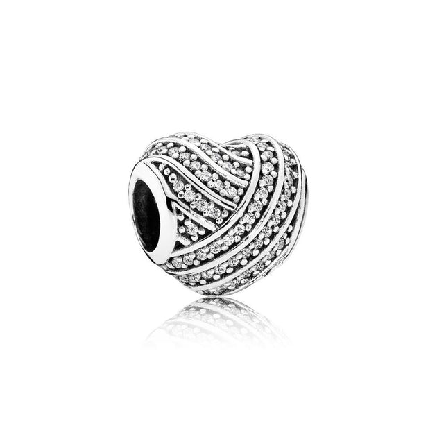 Charm Love Lines with Clear Cubic Zirconia