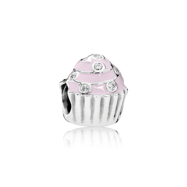 Charm Sweet Cupcake with Light Pink Enamel and Clear Cubic Zirconia