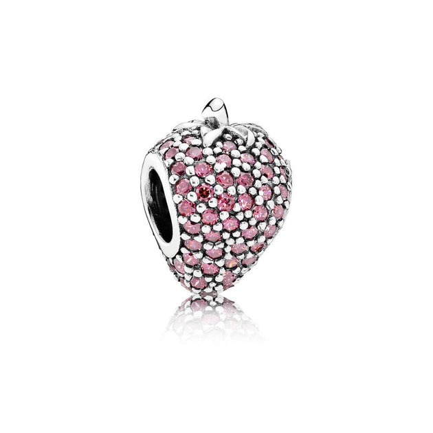 Charm Pave Strawberry with Red Cubic Zirconia